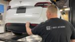 Installing Gyeon Mohs ceramic coating on Tesla Model Y rear bumper plastic trim